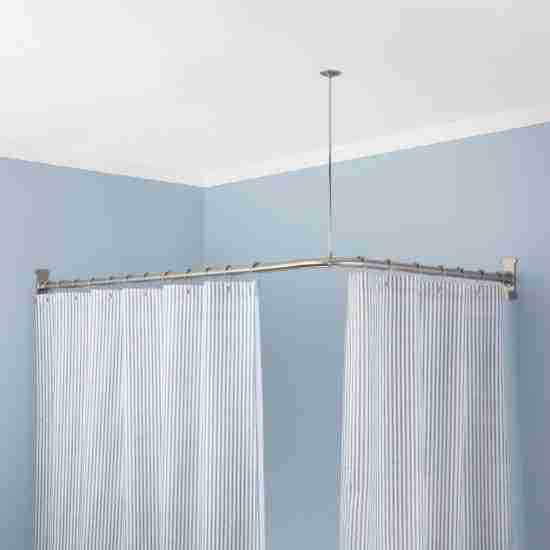 Adjustable L Shaped Shower Curtain Rod Brushed Nickel