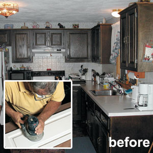 Sanding and Painting Kitchen Cabinets