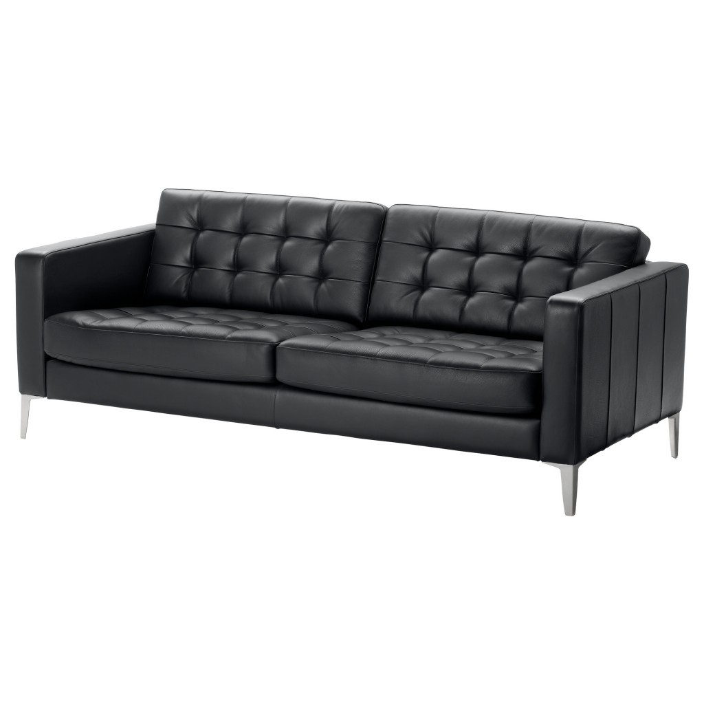 Black Leather Contemporary Sofa