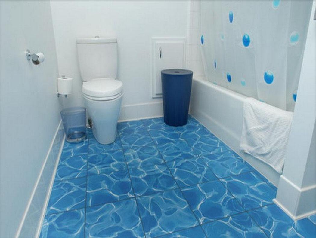 Blue Bathroom Floor Tiles Decor Ideas