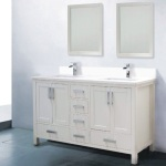 60 White Bathroom Vanity Double Sink