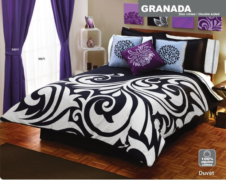 Purple Black and White Bedroom Ideas