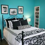 Black White and Teal Bedroom