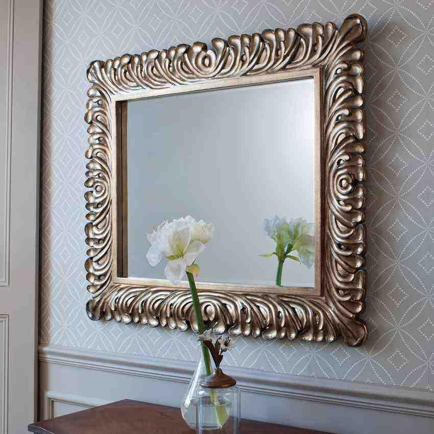 Decorative Silver Framed Wall Mirror