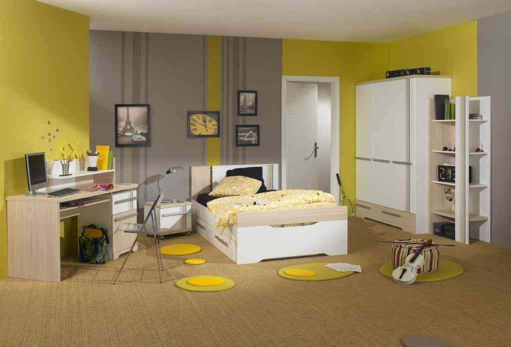 Grey and Yellow Bedroom Walls