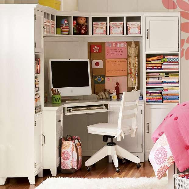 Small White Corner Desk with Hutch