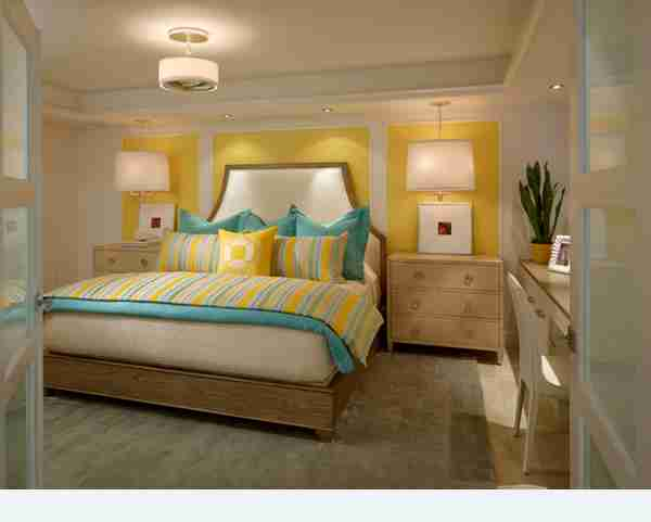 Turquoise and Yellow Bedroom