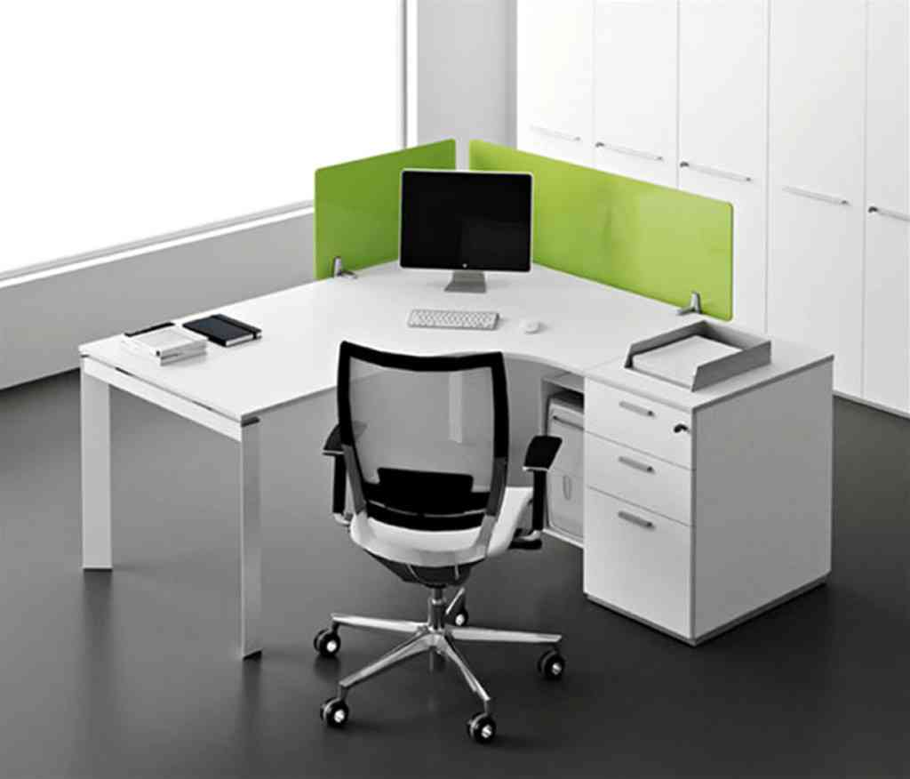 White Corner Office Desk