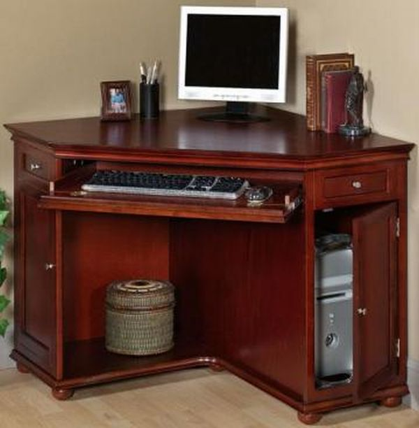 Wood Cherry Corner Desk with Hutch