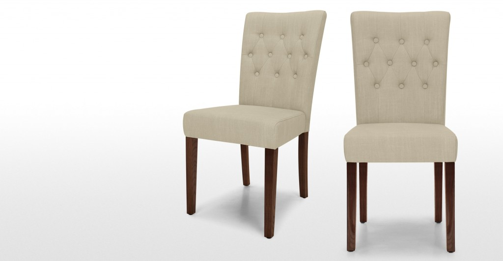 Beige Leather Dining Chairs