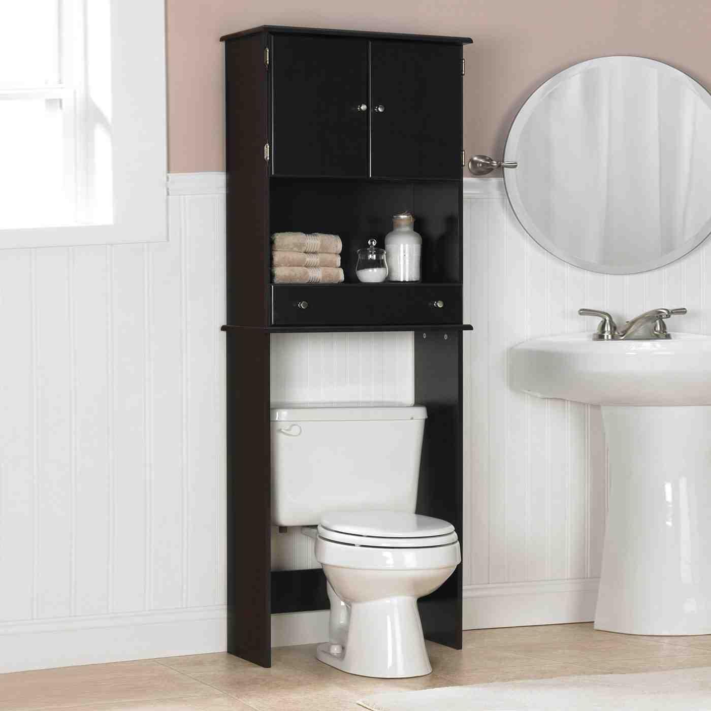 Home Exterior Wall Design: Black Bathroom Storage Cabinet