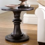 Black Round Pedestal End Table