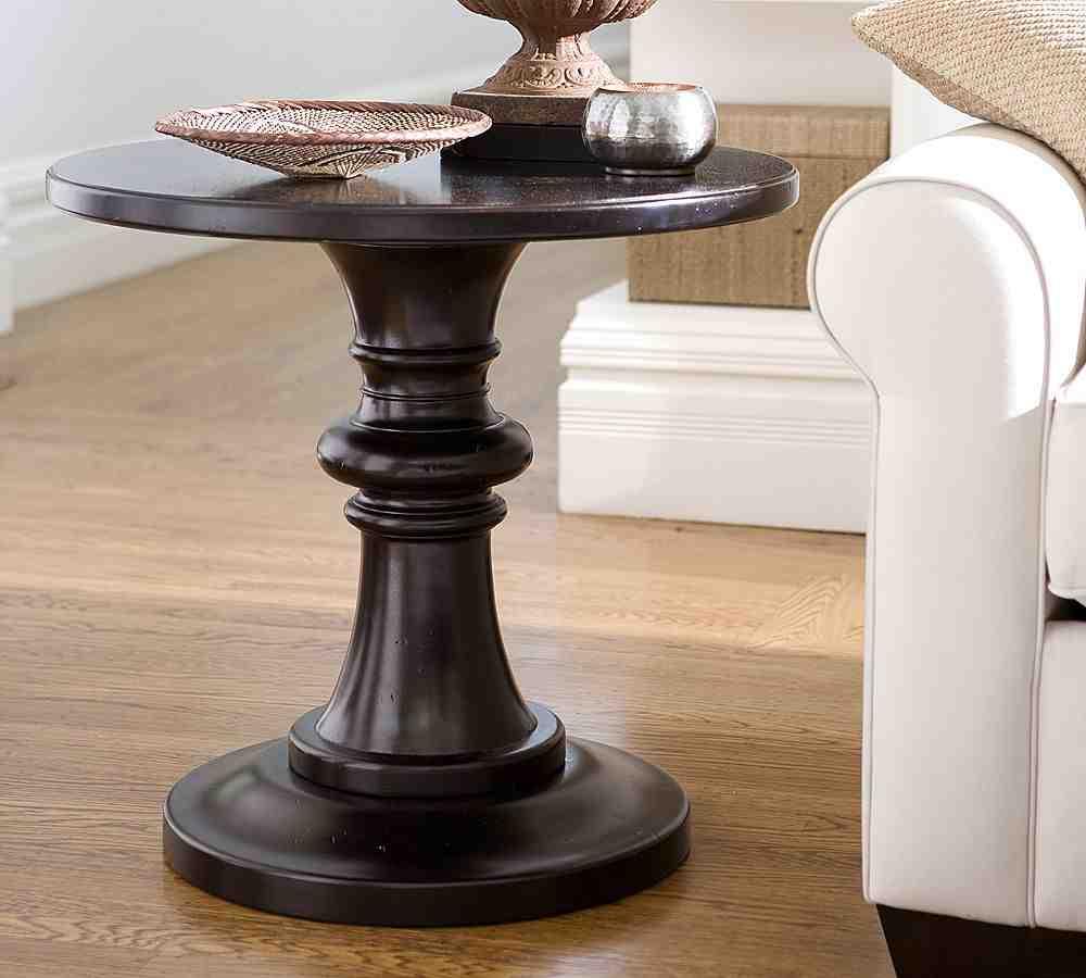 Black Round Pedestal End Table