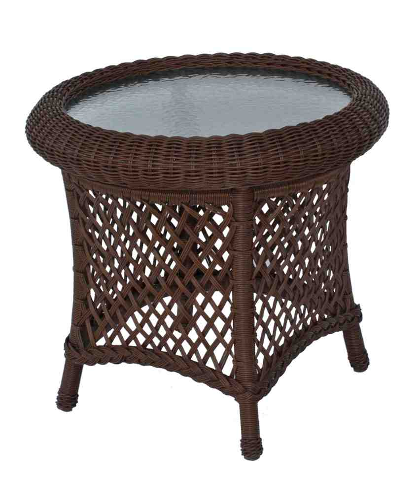 Round Wicker End Table