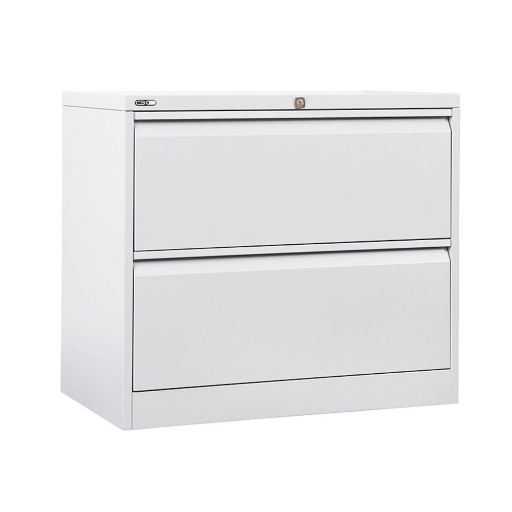 White Wood File Cabinet 2 Drawer