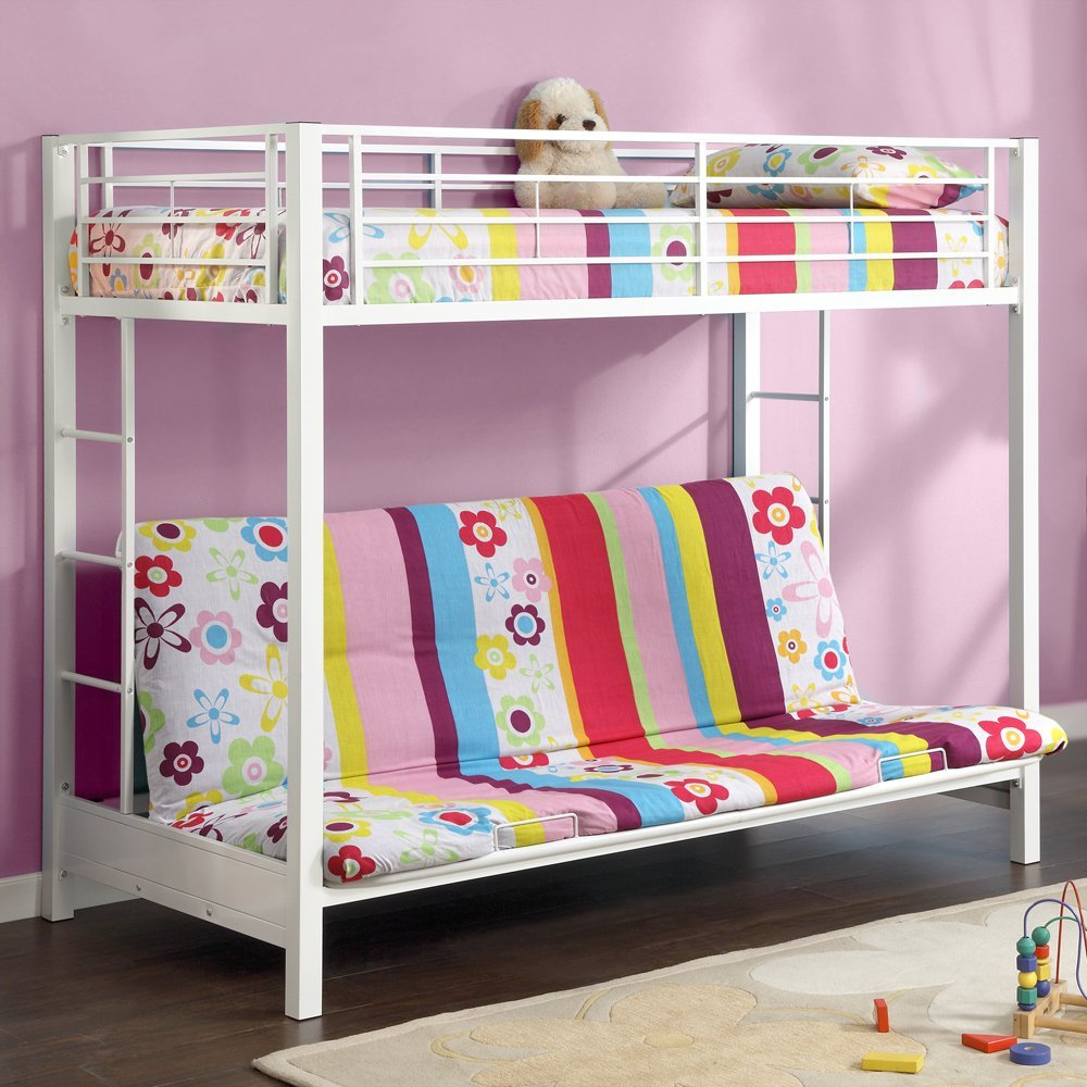 Twin Over Futon Bunk Bed With Mattress