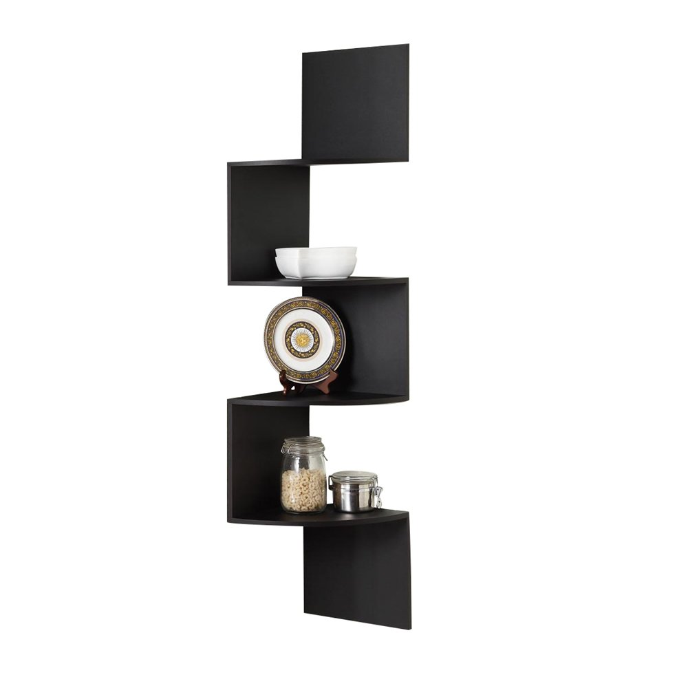 Black Floating Corner Shelves