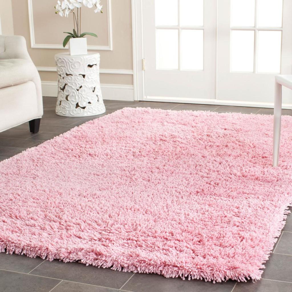 Pink Shag Area Rug