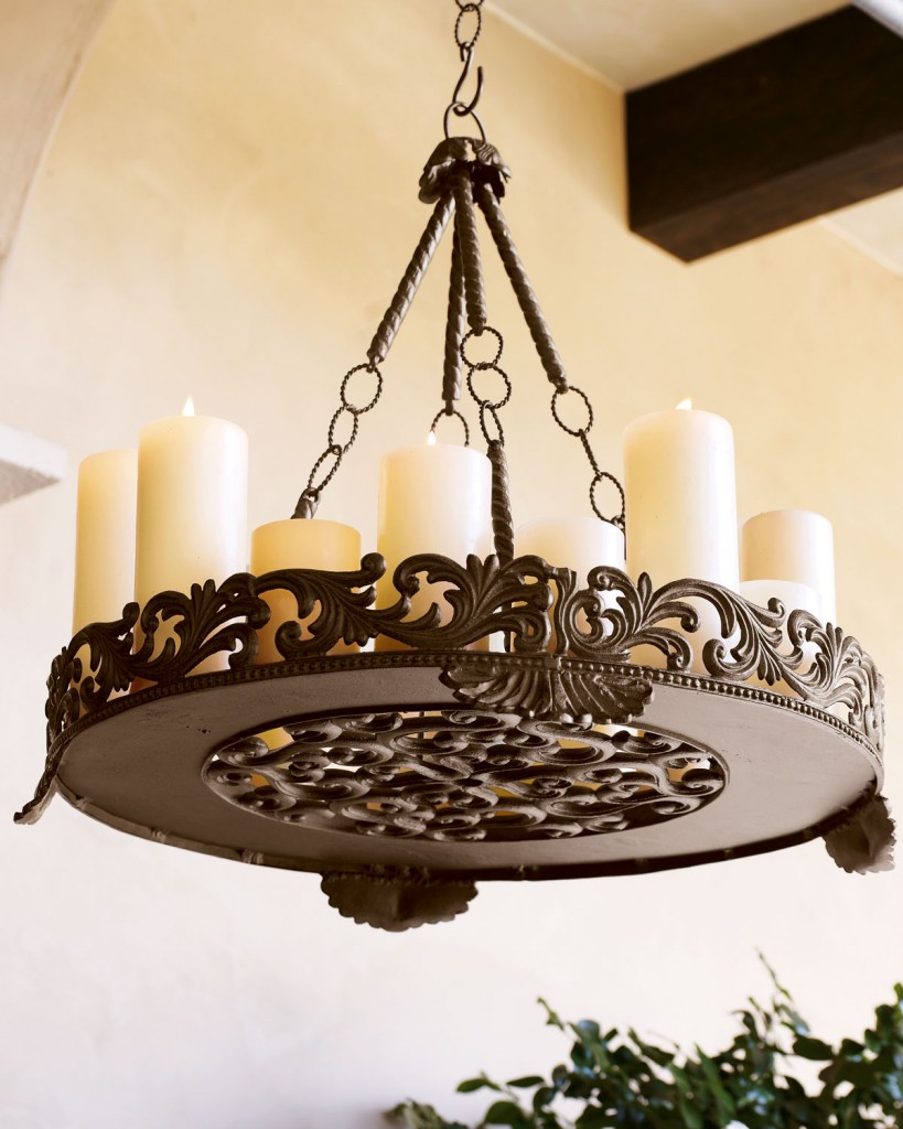 Outdoor Candle Chandeliers Wrought Iron