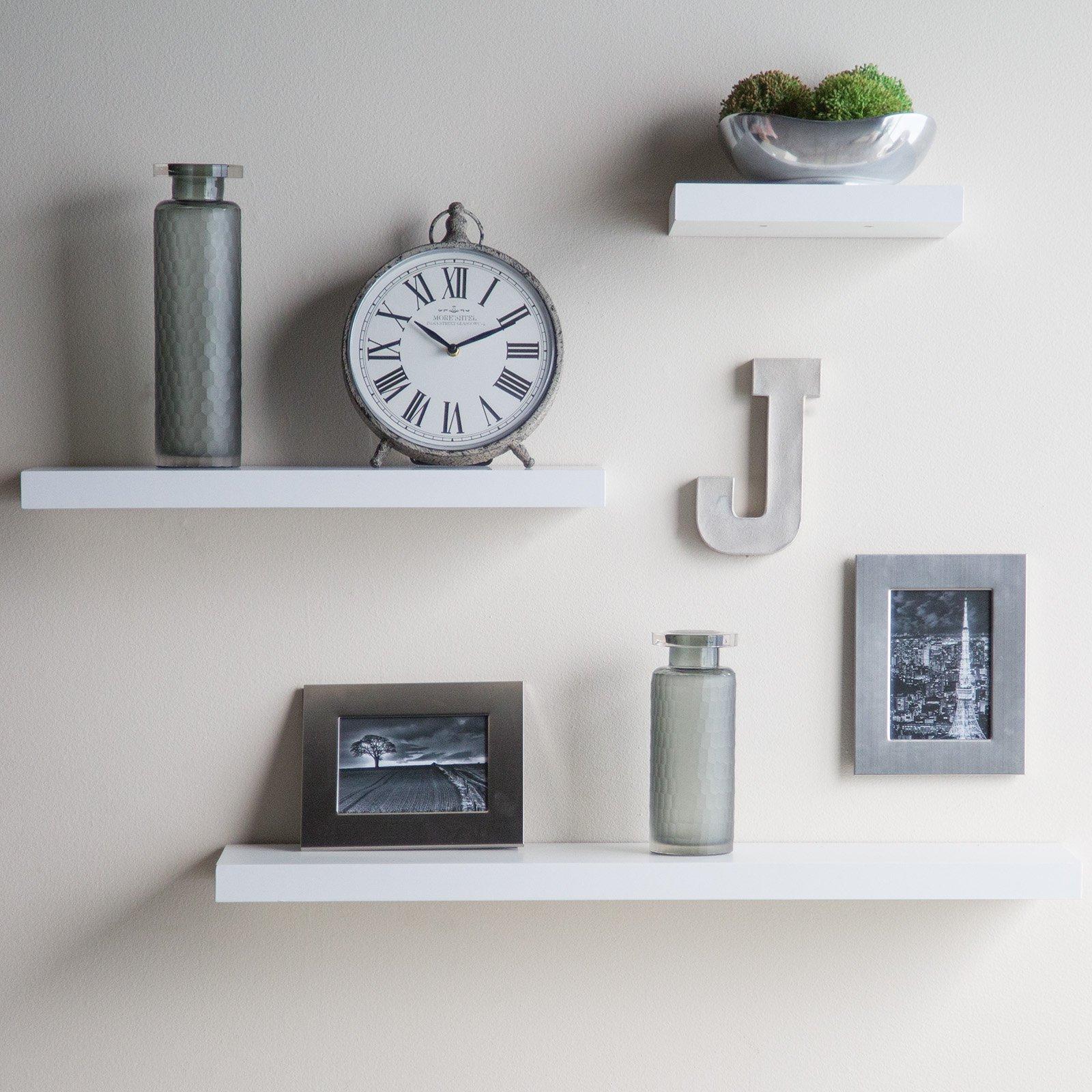 White Floating Wall Shelves Decor Ideas