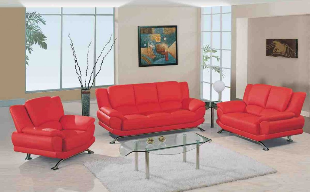 Red Leather Living Room Furniture Set
