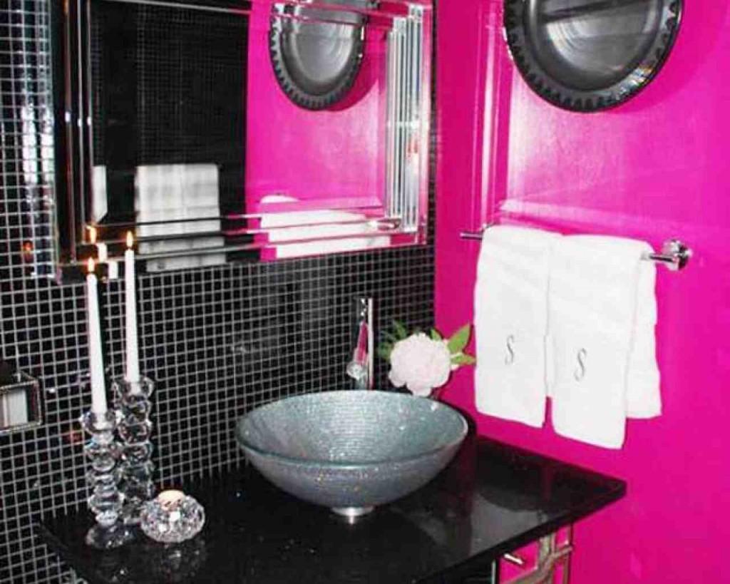 Pink and Black Bathroom Decor