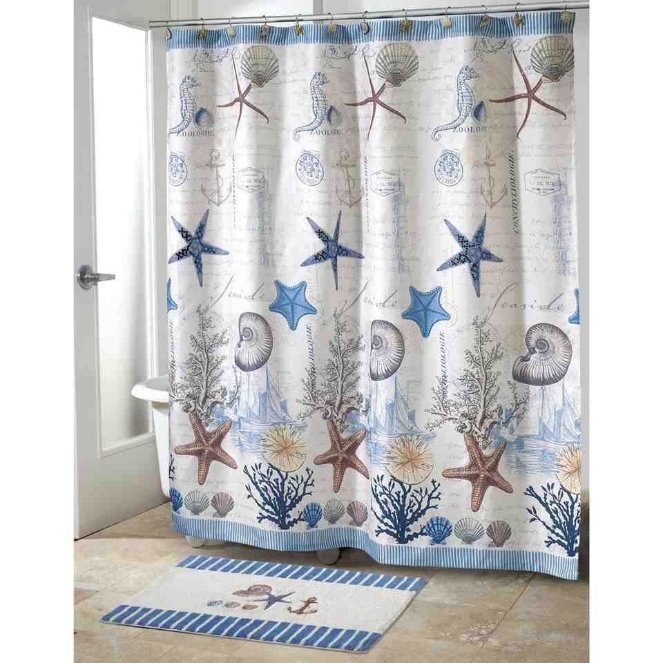 Fabulous Nautical Theme Bathroom Blue Sea Polyester Shower Curtain Nautical Bathroom Shower Curtains Nautical Bathroom Shower Curtains