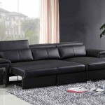 3 Seater Black Leather Sofa