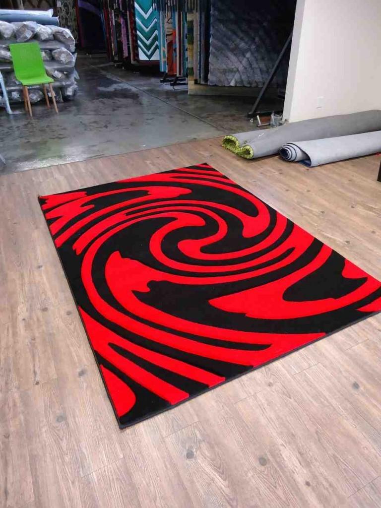 Black Red Area Rug