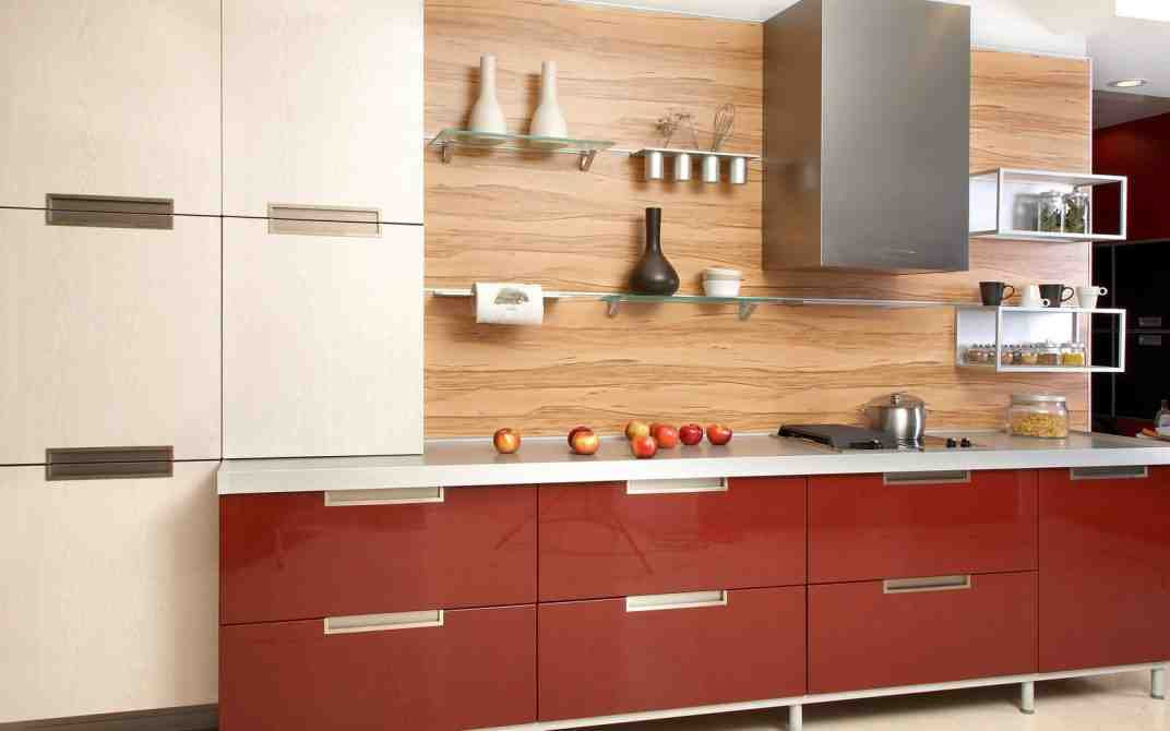 Glossy Red Kitchen Cabinet Glass Floating Shelves Italian ...