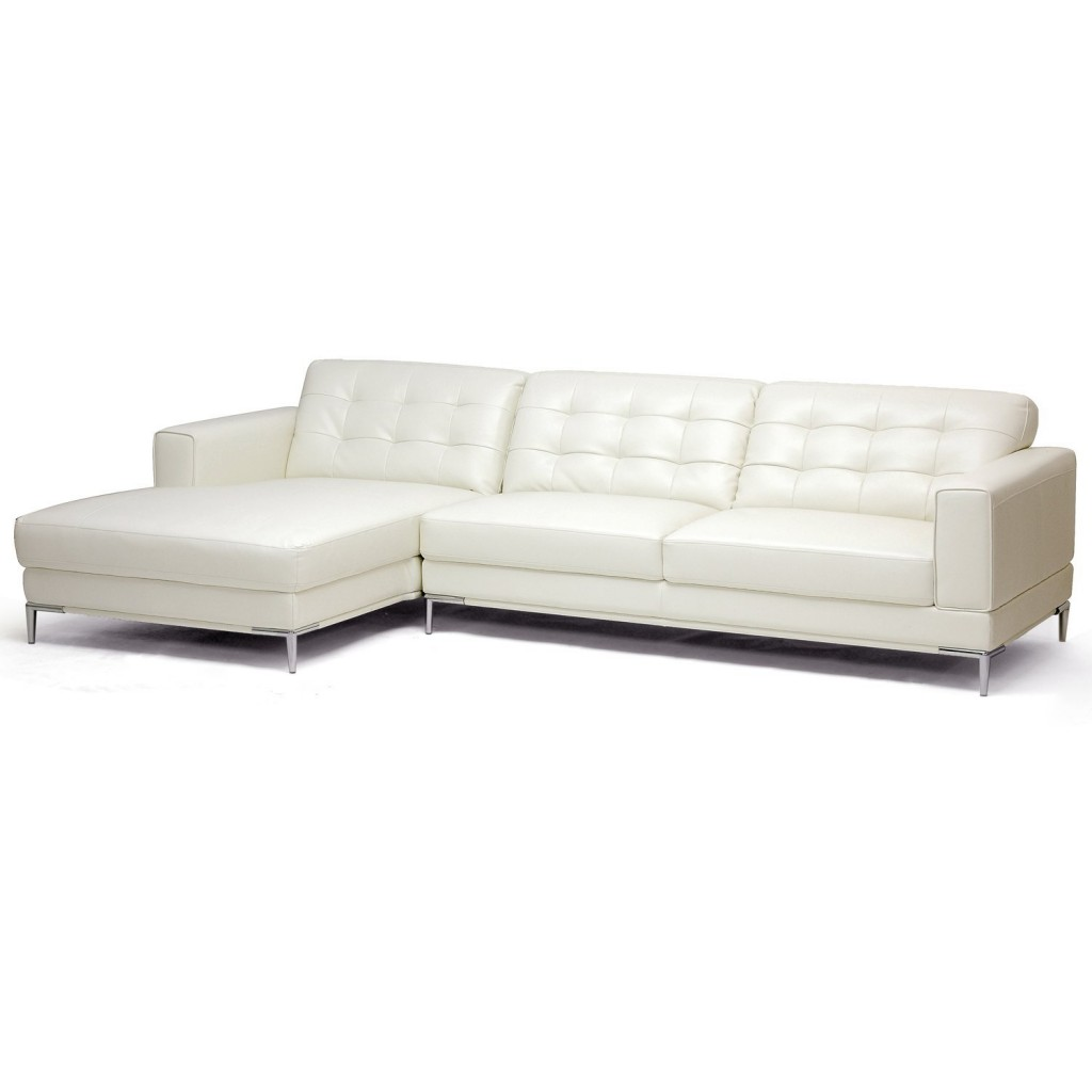 Baxton Studio Babbitt Ivory Leather Modern Sectional Sofa
