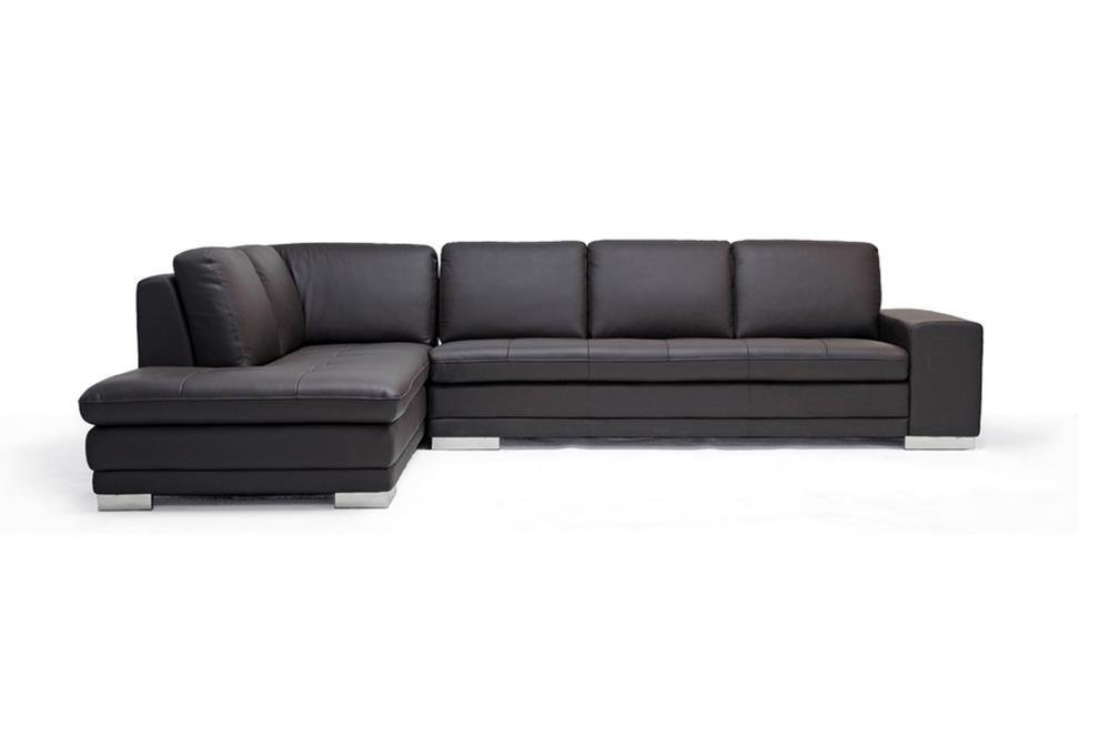 Baxton Studio Callidora Brown Leather Sectional Sofa