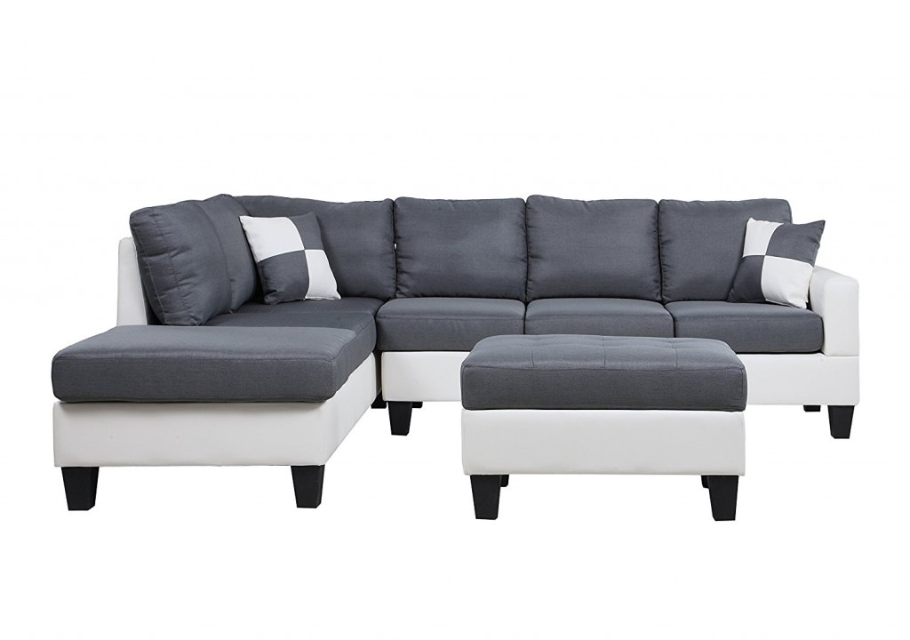 Classic Two Tone Large Linen Fabric And Bonded Leather Living Room