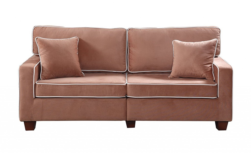Divano Roma Furniture Collection Modern Two Tone Velvet Fabric Living Room Love Seat Sofa