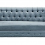 TOV Furniture The Hanny Collection Elegant Velvet Fabric Upholstered Wood Living Room Sofa Couch