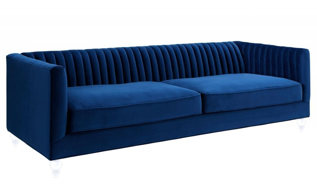 Navy Blue Leather Couch