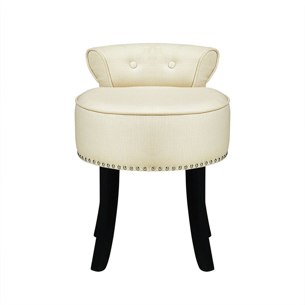 Inspired Home Taylor Linen Contemporary Nail Head Trim Rolled Back Vanity Stool