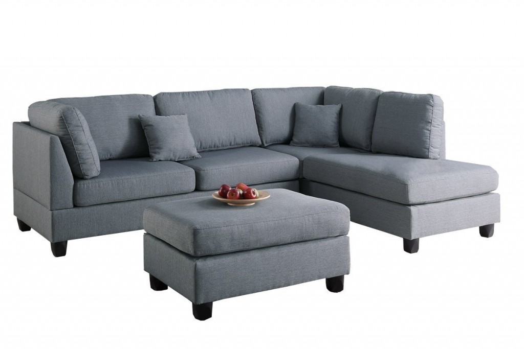 Modern Contemporary Polyfiber Fabric Sectional Sofa And Ottoman Set