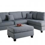 Modern Contemporary Polyfiber Fabric Sectional Sofa And Ottoman Set
