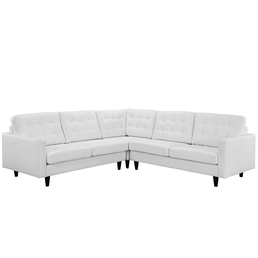 Modway Empress Mid Century Modern Upholstered Leather Sectional Sofa Set