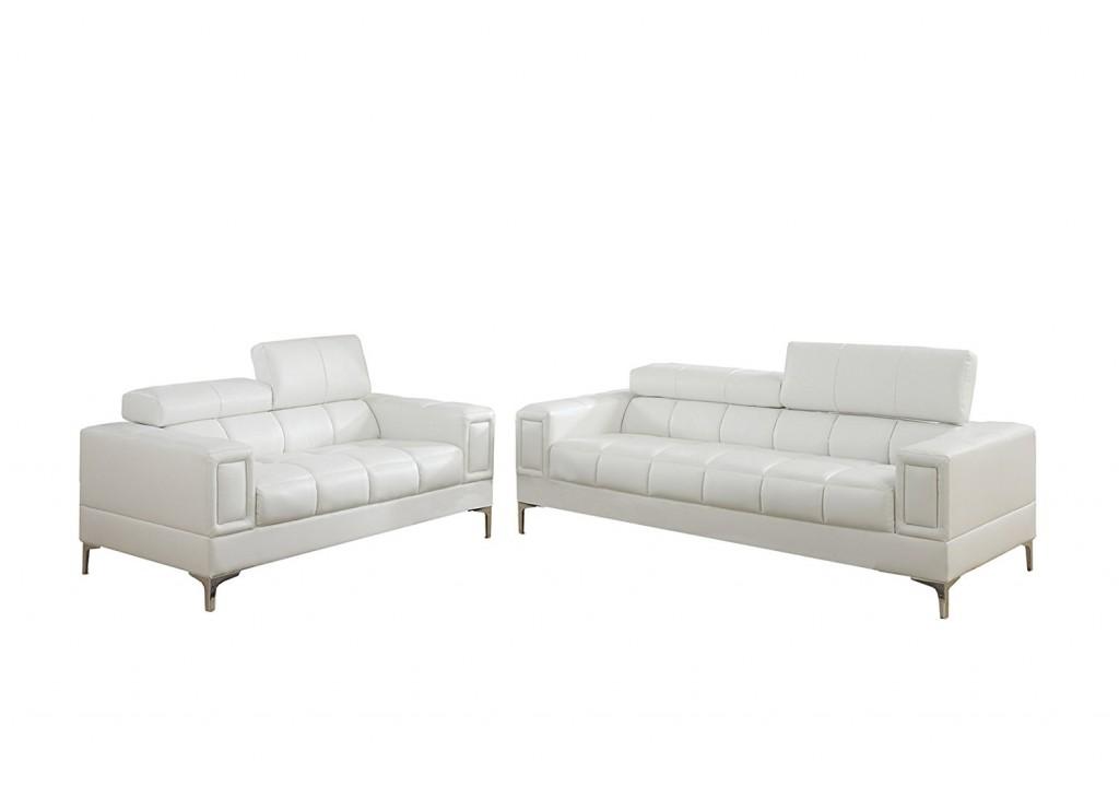 Poundex Bobkona Sierra Bonded Leather 2 Piece Sofa And Loveseat Set