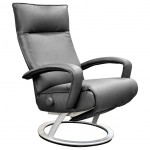 Gaga Grey Leather Adjustable Reclining Chair