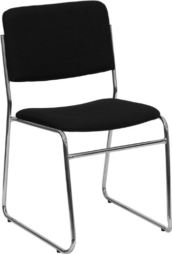 Flash Furniture HERCULES Series 1000 Lb. Capacity Black Fabric High Density Stacking Chair