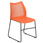 Flash Furniture HERCULES Series 661 Lb. Capacity Orange Sled Base Stack Chai