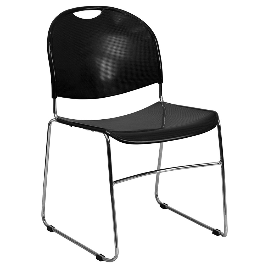 Flash Furniture HERCULES Series 880 Lb. Capacity Black Ultra Compact Stack Chair