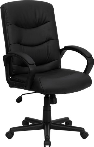 Flash Furniture Mid Back Black Leather Swivel Task Chair