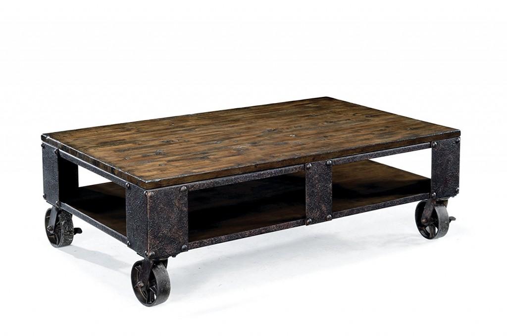 Magnussen T1755 Pinebrook Distressed Natural Pine Wood Rectangular Cocktail Table