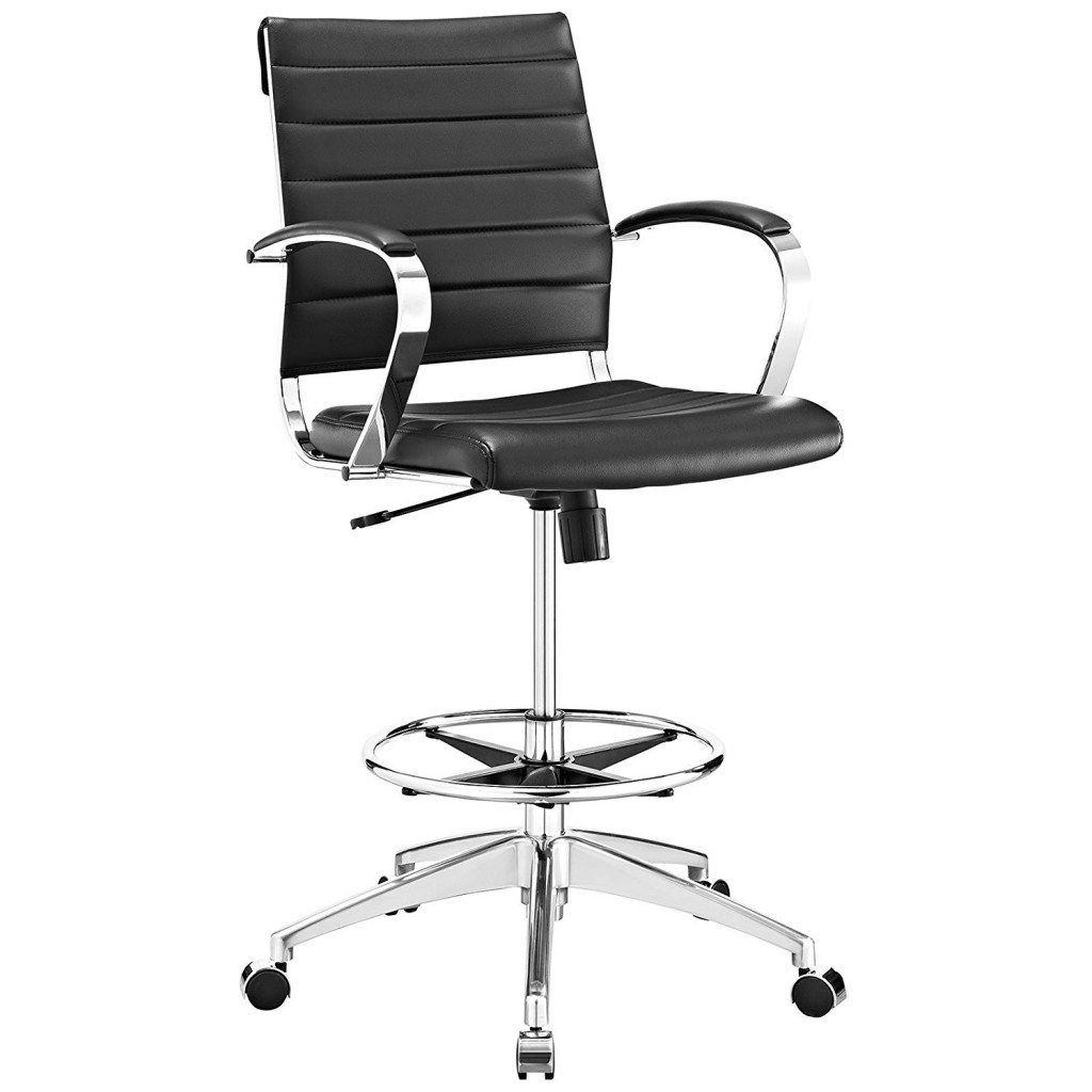 Modway Jive Drafting Chair In Black Reception Desk Chair