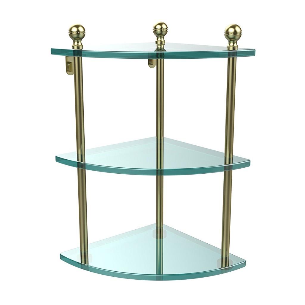 Allied Brass MA 6 SBR Triple Corner Glass Shelf Satin Brass