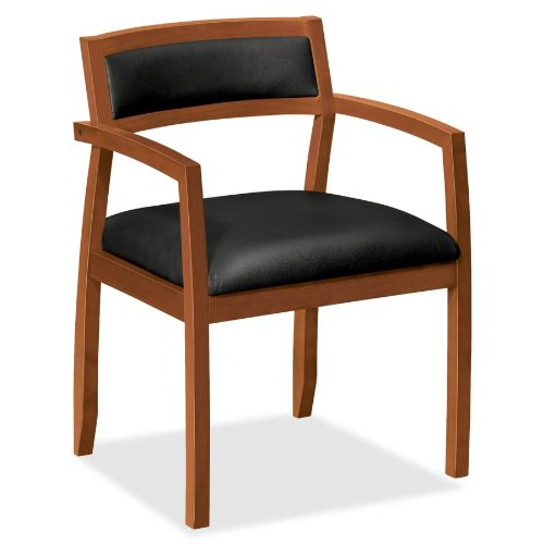 Basyx By HON VL852 Slim Black Leather Guest Side Chair